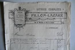 (026) FACTURES DOCUMENTS COMMERCIAUX. 15 CANTAL AURILLAC. LITERIE TOILES, FILLON LAZARE, Rue Du Monastère Et Cons. 1913. - Textile & Clothing