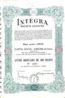 Titre Integra , Action De 500 Francs + Coupons, Liège 1944 - Actions & Titres
