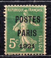 1921 FRANCE 5C. POSTES PARIS OVERPRINT MH * - 1893-1947