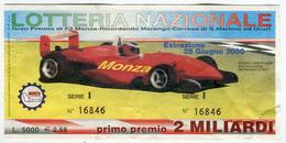 LOTTERIA GP F3 MONZA MARENGO CARRESE ANNO 2000 LIRE 5000 - Billets De Loterie