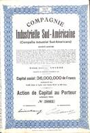Titre Compagnie Industrielle Sud-Américaine (Compania Industrial Sud-Americana) + Coupons, Anvers 1944 - Actions & Titres