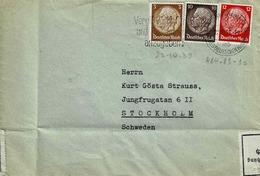 TP N° 484,489 Et490 (Y&T) Sur Enveloppe De Frankfurt Am Main Pour Stokholmavec Controle De Douane - Germany