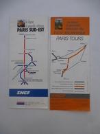 CARTE IGN (Lot De 2) : 1/250000 : Lignes à Grande Vitesse PARIS SUD-EST Et ATLANTIQUE PARIS-LE MANS - Voir Les Scans - Topographical Maps