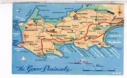 THE GOWER PENINSULA  CARTE GEOGRAPHIQUE - Pays De Galles