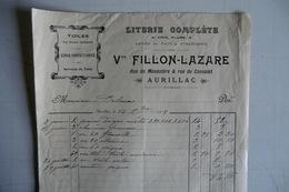 (033) FACTURES DOCUMENTS COMMERCIAUX. 15 CANTAL AURILLAC. LITERIE TOILES, FILLON LAZARE, Rue Du Monastère Et Cons. 1913. - Textile & Vestimentaire