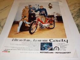 ANCIENNE PUBLICITE 14 ANS  CADY DE MOTOBECANE 1969 - Motos