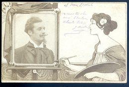 Cpa Illustrateur Art Nouveau La Peinteuse L' Artiste   SEPT18-16 - Illustrators & Photographers