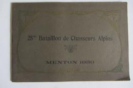 Plaquette Militaire Du 25e Bataillon De Chasseurs Alpins Menton 1930 - Other