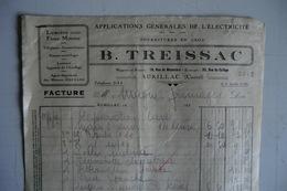 (037) FACTURES DOCUMENTS COMMERCIAUX. 15 CANTAL AURILLAC. B. TREISSAC. Application Générales De L électricité. 1933. - Electricité & Gaz