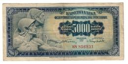 Yugoslavia 5000 Dinara 1955 WITH Plate 2 - Pick 72A - Jugoslavia