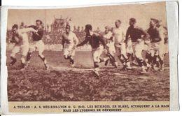 SPORT RUGBY A XV A TOULON A.S. BÉZIERS - LYON.O.U    COUPURE PRESSE SUR CARTONNETTE - Rugby