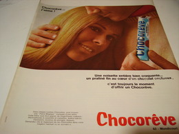 ANCIENNE PUBLICITE BARRE CHOCOREVE 1969 - Posters
