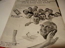 ANCIENNE PUBLICITE AUX ETAT UNIS  15 RASAGES PARFAITS LAME SCHICK 1969 - Perfume & Beauty