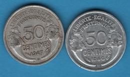 FRANCE LOT 2 X 50 CENTIMES 1946B - 1947B MORLON - Francia