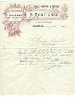 Facture - F. Montignac - Peaux Chiffons Et Métaux - Crins Et Soies - Orléans 1912 - Filigrane Blason Lion - France