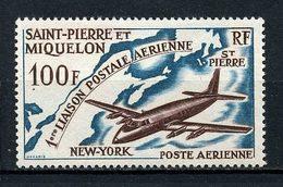 SPM MIQUELON 1974 PA N° 31 * Neuf MH Charnière TTB C 17 € Avion Plane Première Liaison Postale Aérienne New-york - Neufs