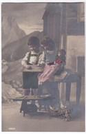 Jongetje En Meisje In Tiroler Kledij Met Pop En Kat Anno 1920 - Portraits