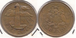 Barbados 5 Cents 1989 Km#11 - Used - Barbados
