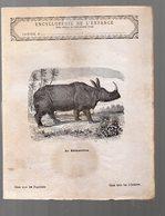 Cahier D'écolier Avec Couverture Illustrée : Encyclopédie De L'enfance Le Rhinoceros  (PPP9437) - Animals