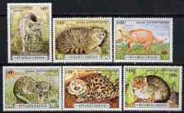 Cambodia 1996 Wild Cats Perf Set Of 6 U/m, SG 1509-14 CATS CARACAL - Cambodia
