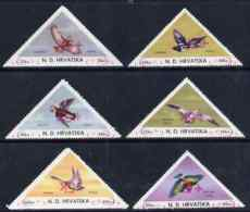 Croatia 1951 Birds Triangular Perf Set Of 6 Surcharged +5k In Red With Surcharge Inverted On All Values, U/m - Croatia
