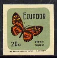 Ecuador 1970 Butterflies 20c (Papilio Zagreus) In U/m Imperf With Coloured Background (as SG 1381)* - Ecuador