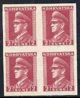 Croatia 1943 Pavelic 2k Claret In Fine Mint Imperf Block Of 4, As SG108 - Croatia