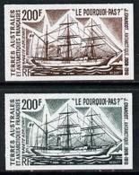 French Southern & Antarctic Territories 1974 Charcot's Antarctic Voyages SHIPS POLAR 200f (Le Pourquoi-Pas ?) Two Differ - Terres Australes Et Antarctiques Françaises (TAAF)