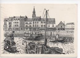 Le Croisic - Port De Pêche  Par H. Touleron (gravure Dessin) - Le Croisic