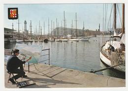 Barcelona  N°1264 Beau Détail Du Port Avec Peintre Sa Palette Et Son Chevalet En 1974 - Barcelona