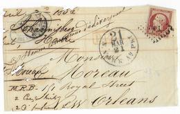 1856 - YT 17A - 80C EMPIRE NON DENTELE Sur GRAND FRAGMENT De PARIS => NEW ORLEANS (USA) - Marcophilie (Lettres)