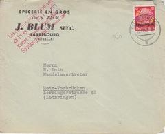 Lettre à Entête De Sarrebourg (T 329 Saarburg Lothr B) TP Lothr 12pf=1°éch Le 22/11/40 Pour Metz - Postmark Collection (Covers)