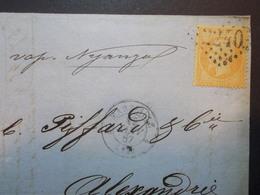 Marcophilie  Cachet Lettre Obliteration - Timbre N°23 Destination Alexandrie Par Vapeur - 1867 - (2149) - 1849-1876: Période Classique