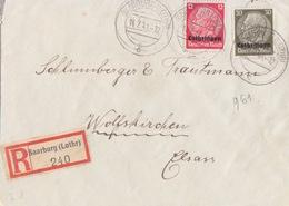 Lettre De Sarrebourg (T 329 Saarburg Lothr Bc) TP Lothr 12+30pf=Rec1°éch Le 14/7/41 Pour Wolfskirchen - Postmark Collection (Covers)
