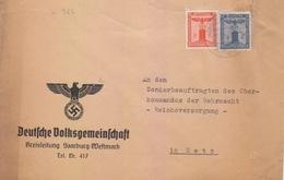Lettre Préimprimée De Sarrebourg (T 329 Saarburg Lothr A) TP FM 8+4pf=1°éch Le 1/8/41 Pour Metz - Postmark Collection (Covers)