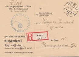 ÖSTERREICH 1942 - Frei Durch Ablöse Reich Auf R-Postkarte D.Polizeipräsident In Wien, Gel.Wien 9 > Wien 12 - 1918-1945 1. Republik