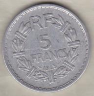5 Francs Lavrillier 1945 , 9 Ouvert , Aluminium - France
