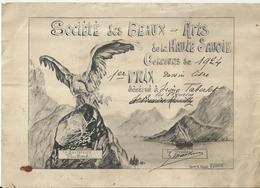 Société Des Beaux-Arts De La Haute-Savoie - Concours De 1924 - 1er Prix De Dessin Libre - Diplômes & Bulletins Scolaires