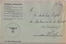 Lettre Préimprimée De Sarrebourg (T 329 Saarburg Westmark C) En Franchise Le 24/3/42 Pour Metz - Postmark Collection (Covers)