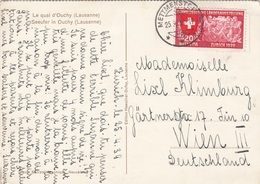 SCHWEIZ 1939 - 20 C Sondermarke Auf Ak LE QUAI D'OUCHY (Lausanne), Gel.v. Mettmenstein > Wien III - Briefe U. Dokumente