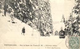 C 0160 - Pontarlier  (25)  Sur La Ligne Du Tram Sous La Neige - Pontarlier