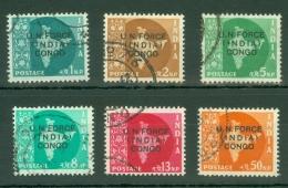 India - Congo: 1962   Map Of India 'U.N. Force India Congo' OVPT Set   SG U1-U6   Used - Military Service Stamp
