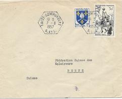 LETTRE 1957 POUR LA SUISSE AVEC 2 TIMBRES ET CACHET DU BUREAU D'INTERET PRIVE TAIZE-COMMUNAUTE - Postmark Collection (Covers)