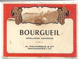 Ancienne étiquette Bourgueil. M. Fauvarque St Cie.  (Vin) - Agriculture