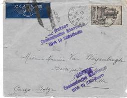 Lettre  France 1940 Pour Léopoldville Congo Belge Cesure Censor Geoffnet Examiner - Marcophilie (Lettres)
