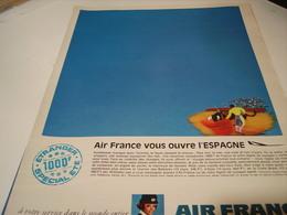 ANCIENNE PUBLICITE VOYAGE ESPAGNE  AIR FRANCE   1969 - Publicités