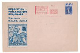 1935 - ENVELOPPE COMMEMORATIVE De L'EXPOSITION PHILATELIQUE D'ORLEANS Avec REPRO TIMBRE JEANNE D'ARC + SEMEUSE EMA - Marcophilie (Lettres)