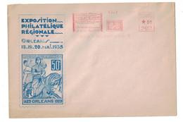 1935 - ENVELOPPE COMMEMORATIVE De L'EXPOSITION PHILATELIQUE D'ORLEANS Avec REPRO TIMBRE JEANNE D'ARC + EMA CONCORDANTE - Postmark Collection (Covers)