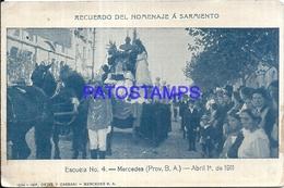 100694 ARGENTINA MERCEDES BUENOS AIRES ESCUELA Nº 4 HOMENAJE A SARMIENTO BREAK POSTAL POSTCARD - Argentinien