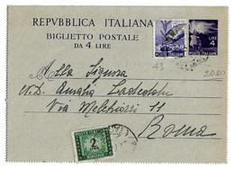 Biglietto Postale Da 4 Lire (+ L. 6 + L. 2 Segnatasse) - 43. 1948 - 6. 1946-.. Repubblica